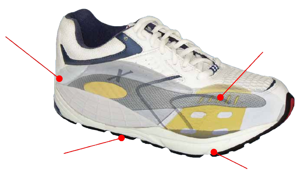 Xelero white and navy lace-up athletic sneaker with red circles pointing to different parts of the shoe