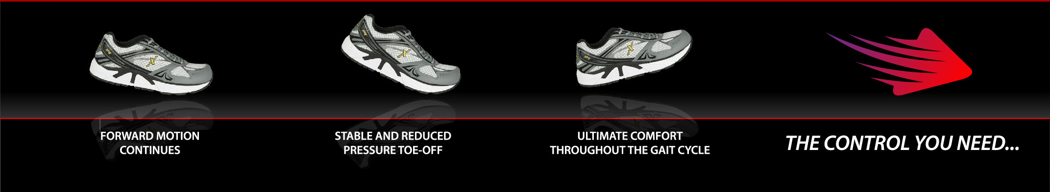 3 Xelero gray and white lace-up athletic sneakers showing the motion of a person's foot while walking