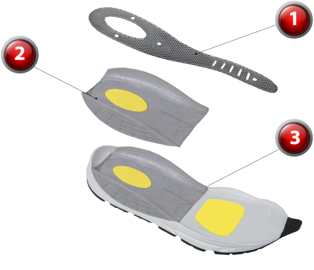 Different parts of the Propulsion Element of the shoe sole that allows for increased vertical leap