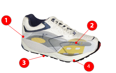 Xelero white lace-up athletic sneaker with blue logo labeled with parts 1, 2, 3, and 4