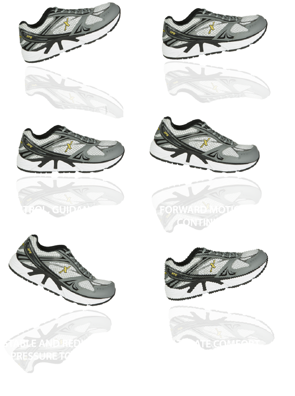 6 Xelero shoes showing the different angles of a foot while a person is walking
